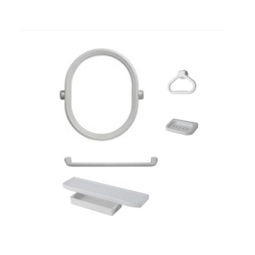 PIXO กระจกชุด6ชิ้นแบบวงรี MS011 ขาว
