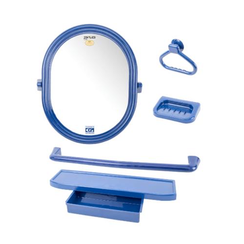 PIXO กระจกชุด5ชิ้น แบบวงรี MS011 สีน้ำเงิน