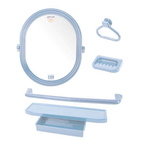 PIXO กระจกชุด5ชิ้น แบบวงรี MS011 สีฟ้า
