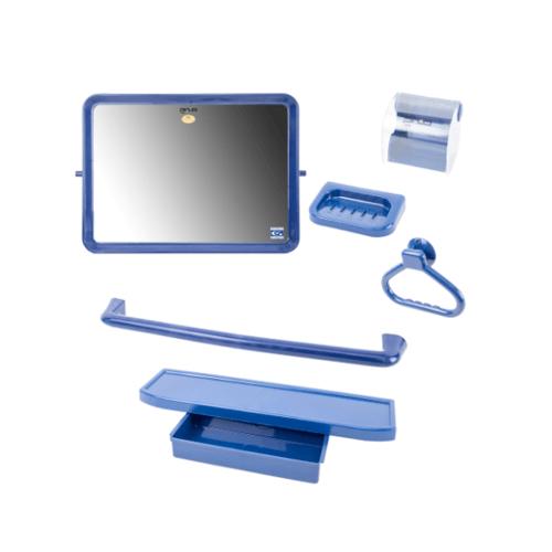 PIXO กระจกชุด6ชิ้น แบบเหลี่ยม MS013 สีน้ำเงิน