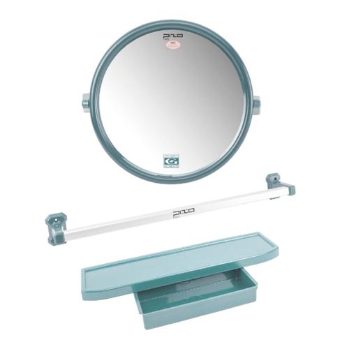 PIXO กระจกชุด3ชิ้น แบบกลม MS08 สีเทา
