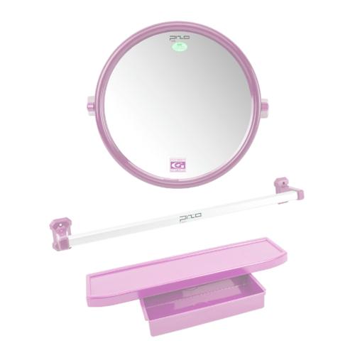 PIXO กระจกชุด3ชิ้น แบบกลม MS08ชมพู