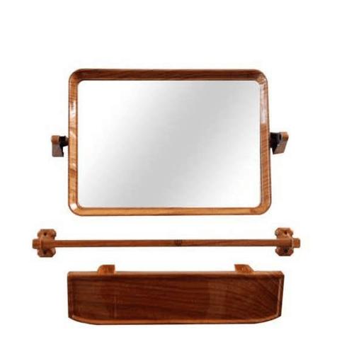 TIGER กระจกชุด3ชิ้นแบบเหลี่ยม EMS04 ลายไม้สัก