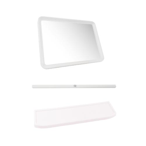TIGER กระจกชุด 3 ชิ้น แบบเหลี่ยม EMS 06 สีขาว