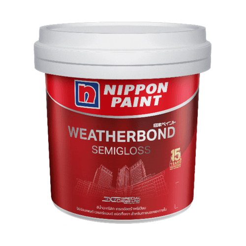 Nippon  สีน้ำอะคริลิกภายนอก เวเธอร์บอนด์ กึ่งเงา เบส B ลิตร WEATHERBOND SemiGloss  สีขาว