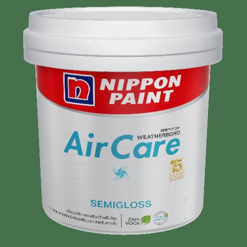 Nippon  สีน้ำอะคริลิค ภายใน Nippon แอร์แคร์ กึ่งเงา เบส A ขนาด 2.5 GL. AIRCARE SEMIGLOSS  สีขาว