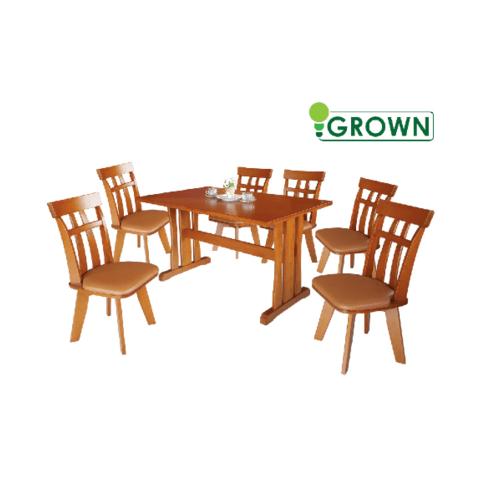 Grown ชุดโต๊ะอาหารดาม่อน 6 ที่นั่ง 6 ที่นั่ง สีมะฮอกกานี