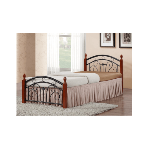 WISDOM เตียงเหล็กเสาไม้ ขนาด 3.5 ฟุต strong สีดำ