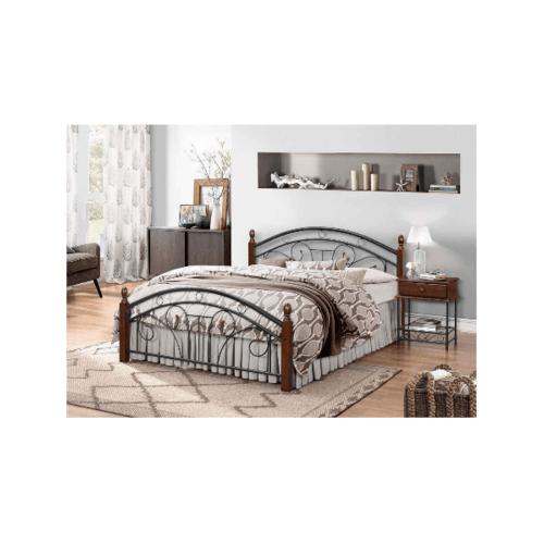 WISDOM เตียงเหล็กเสาไม้  รุ่น สตรอง 5 ฟุต  สีบราวน์