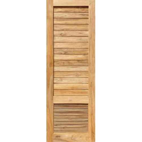 SJK  ประตูไม้สัก เซาะร่องพร้อมเกล็ดระบายอากาศ 70x200ซม.  SJK008