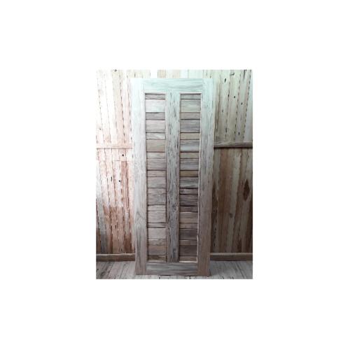 SJK ประตูไม้สัก 2 ช่องสลับเล็ก ขนาด 80x200 ซม. SJK005