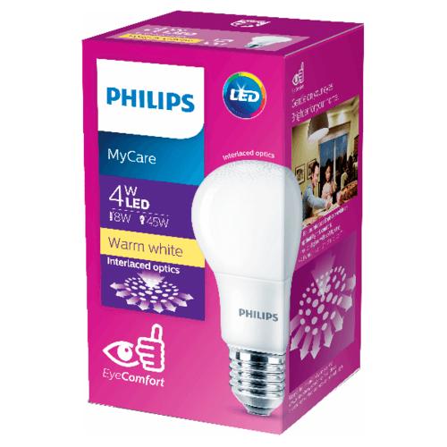 PHILIPS หลอดแอลอีดี บัล์บ 4 วัตต์ LEDBulb 4W E27 3000K  สีขาว