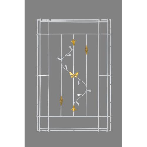 A-Plus  เหล็กดัดหน้าต่างลายดอกไม้จีนพร้อมตระกร้อ  50x210ซม.  (ติดครอบ) สีขาว