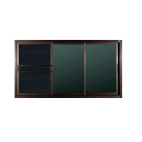 A-Plus หน้าต่างอลูมิเนียม FSSF ขนาด 180cm.x110cm. สีชากระจกดำ พร้อมมุ้ง   LIKE