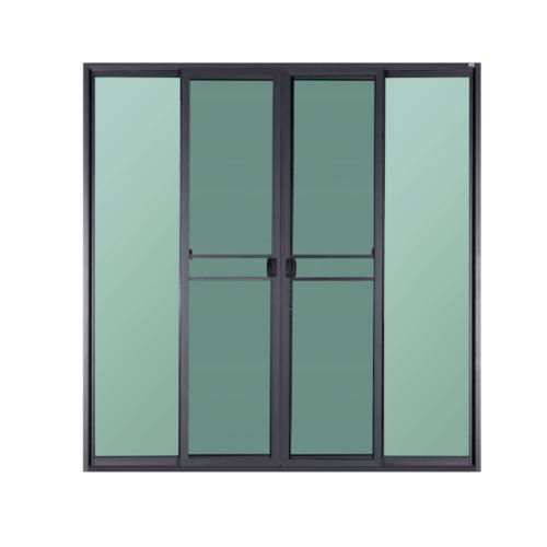A PLUS ประตูบานเลื่อนเปิดกลาง ขนาด  2.40x2.05m.  SAHAR สีดำ