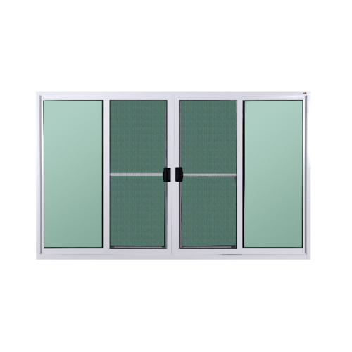 A-Plus หน้าต่างอะลูมิเนียมบานเลื่อนเปิดกลาง (4 ช่อง) ขนาด 200x150ซม. พร้อมมุ้ง  PLATINUM สีขาว