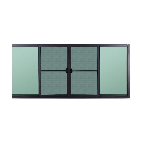 A-Plus หน้าต่างอะลูมิเนียมบานเลื่อนสลับเปิดกลาง ขนาด 240x150ซม. (4บาน)   SAHARA สีเทา