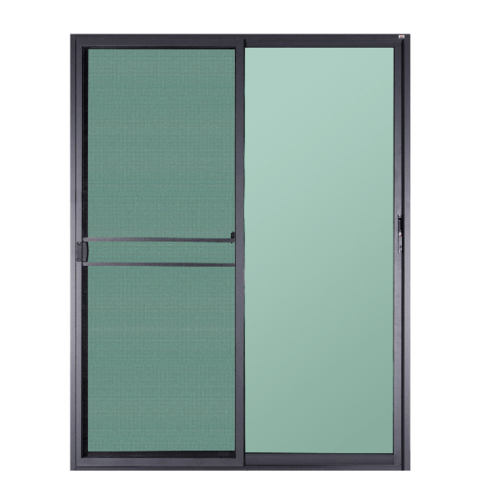 A-Plus ประตูอะลูมิเนียมบานเลื่อน  ขนาด 160x205ซม. สีดำด้าน พร้อมมุ้ง SS