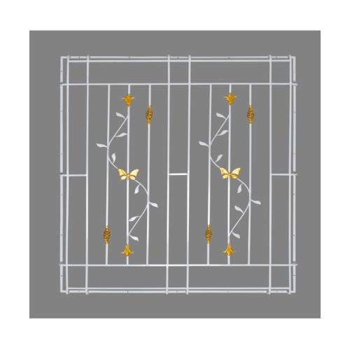 A-Plus  เหล็กดัดหน้าต่าง ลายดอกไม้จีนพร้อมตระกร้อ  ขนาด 120x120ซม. (ติดครอบ) สีขาว