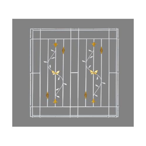 A-Plus  เหล็กดัดหน้าต่าง ลายดอกไม้จีนพร้อมตระกร้อ  ขนาด 100x100ซม.  (ติดครอบ) สีขาว