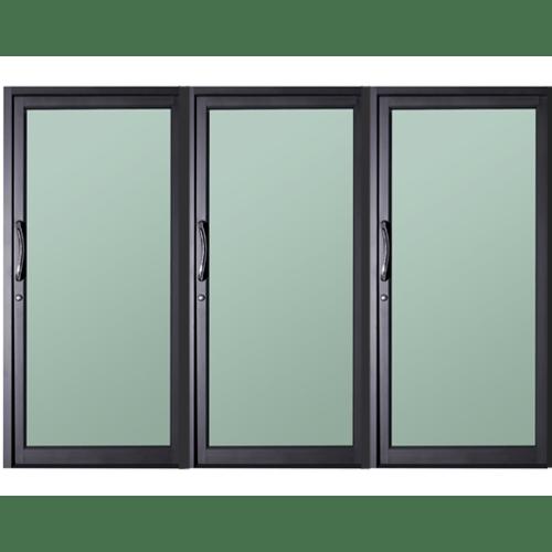 A-Plus ประตูอะลูมิเนียมบานสวิง (3 ช่อง) ขนาด 240x225ซม. สีซาฮาร่า SAHARA เทาเข้ม