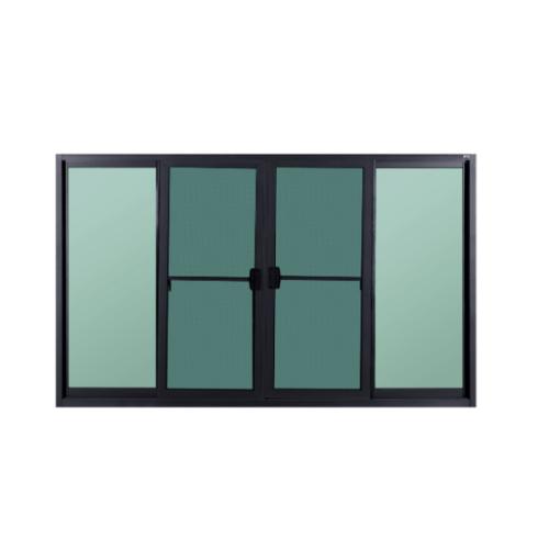 A-Plus หน้าต่างบานเลื่อนเปิดกลางอลูมิเนียม 2.00 m. x 1.00 m. (มีมุ้ง)   SAHARA สีดำ