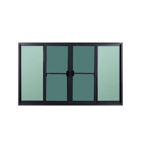 A-Plus หน้าต่างบานเลื่อนเปิดกลางอลูมิเนียม 1.50 m. x 1.00 m. (มีมุ้ง)  SAHARA สีดำ