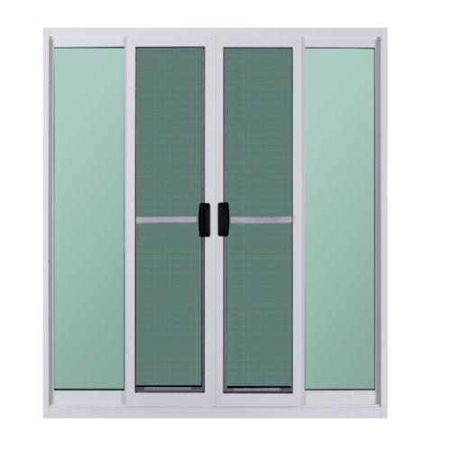 A-Plus ประตูบานเลื่อนเปิดกลาง+ มุ้ง ขนาด 2.80 m. x 2.50 m. Platinum สีขาว
