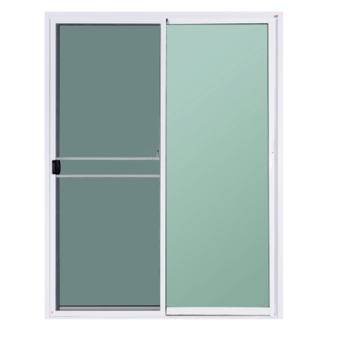A-Plus ประตูอลูมิเนียมบานเลื่อน  ขนาด2.00 m. x 2.00 m.   (กระจกสีชา)+ มุ้ง สีขาว