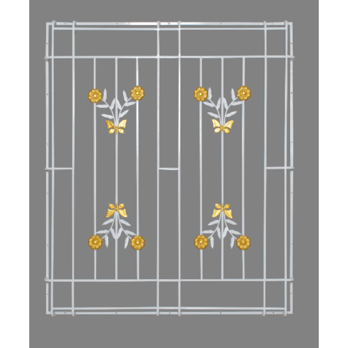 A-Plus เหล็กดัดหน้าต่างลายดอกไม้จีน ติดครอบนอก 127x130ซม. - สีขาว
