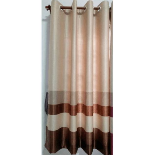 Davinci ผ้าม่านประตู ขนาด (150 x 250 ซม.) 3904-7  สีครีม-น้ำตาลเข้ม