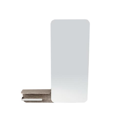 MOGEN กระจก พร้อมชั้นวางของ และราวแขวนสเตนเลส สีลายไม้กลาง (FM02)    MR17S  เนฟ