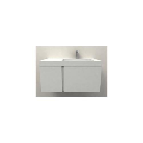 MOGEN อ่างล้างหน้าวัสดุสังเคราะห์ (Co-marble) พร้อมตู้เฟอร์  LG25080Y ยูนิฟาย สีขาว