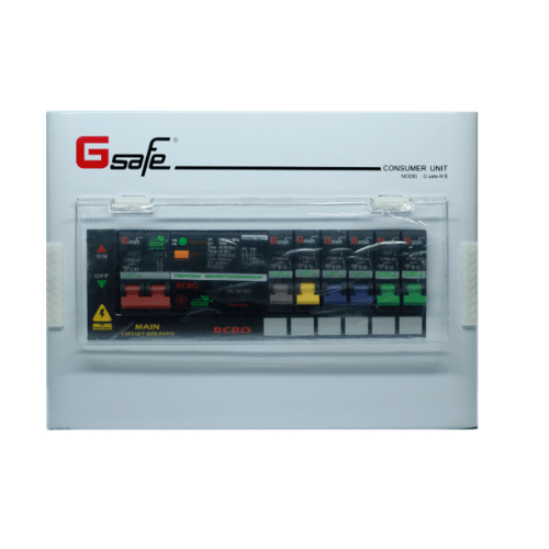 G-Safe ตู้คอนซูเมอร์สำเร็จครบชุด  R6/6ช่อง63A กันดูด สีขาว