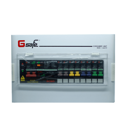 G-Safe ตู้คอนซูเมอร์สำเร็จครบชุด G safe-R8/8ช่อง63A กันดูด CTM-R8/8 slot 63A G safe สีขาว