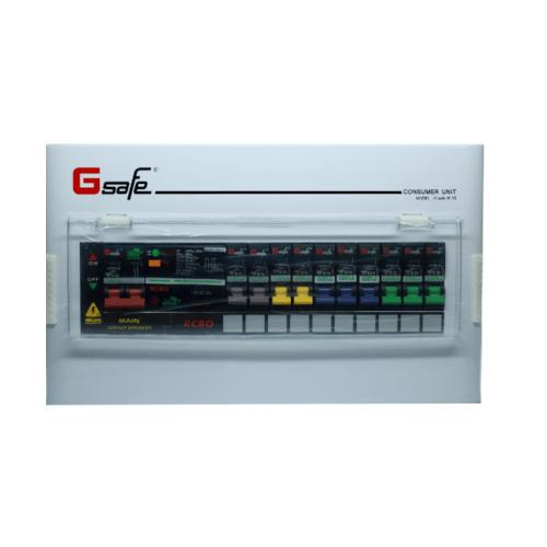 G-Safe ตู้คอนซูเมอร์สำเร็จครบชุด  10/10ช่อง63A กันดูด สีขาว