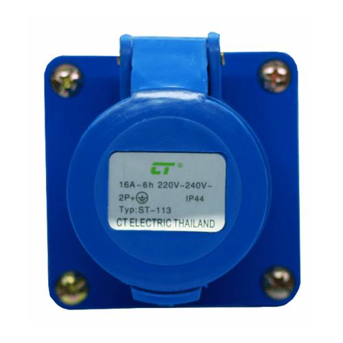 CT ELECTRIC พาวเวอร์ปลั๊ก  ติดลอย(เบ้าปลั๊ก) 2P-E(113)16A 220V ขาว-น้ำเงิน