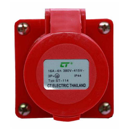CT ELECTRIC พาวเวอร์ปลั๊ก  ติดลอย(เบ้าปลั๊ก) 3P-E(114)16A 380V ขาว-แดง