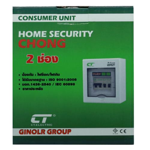 CT ELECTRIC ตู้คอนซูเมอร์สำเร็จ  CHONG-C2/2ช่อง 63A สีขาว