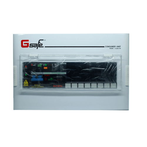 Gsafe ตู้คอนซูเมอร์+เมนเบรกเกอร์กันดูด R8/8ช่อง 50A สีขาว