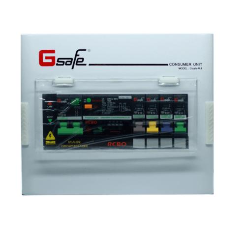 G-Safe ตู้คอนซูเมอร์สำเร็จครบชุด  R4/4ช่อง32A กันดูด สีขาว