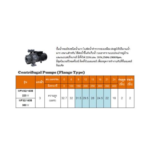 SUMOTO POMPA  ปั๊มหอยโข่งชนิดหน้าแปลนน้ำมากส่งสูง 3 Hp.380V,  SP-MF32/160B สีเทา