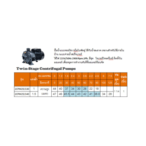 SUMOTO POMPA SUMOTO POMPA ปั๊มหอยโข่งแบบใบพัดคู่ 1.5Hp รุ่น 2CPM25/140 2CPM25/140