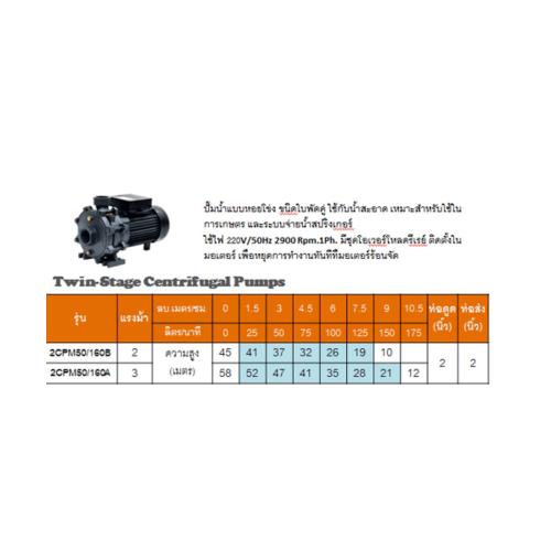 SUMOTO POMPA ปั๊มหอยโข่งแบบใบพัดคู่ 2 HP 2CPM50/160B สีเทา
