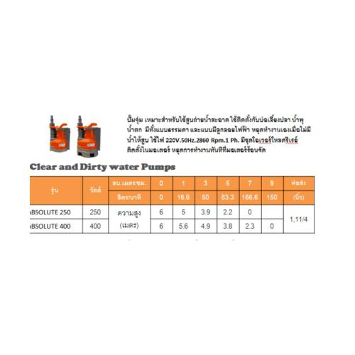 SUMOTO POMPA ปั๊มจุ่มน้ำสะอาด 250วัตต์. 2 IN 1 ABSOLUTE 250