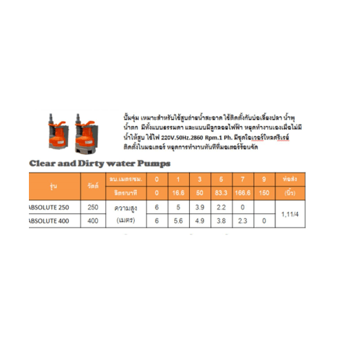 SUMOTO POMPA SUMOTO POMPA ปั๊มจุ่มน้ำเสีย 400W, ABSOLUTE400 ABSOLUTE400 สีส้ม