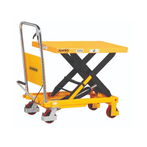 โต๊ะปรับระดับติดล้อเท้าเหยียบ ขากรรไกรเดี่ยว 300 กก.   TMS300A ขาว-เหลือง-ดำ