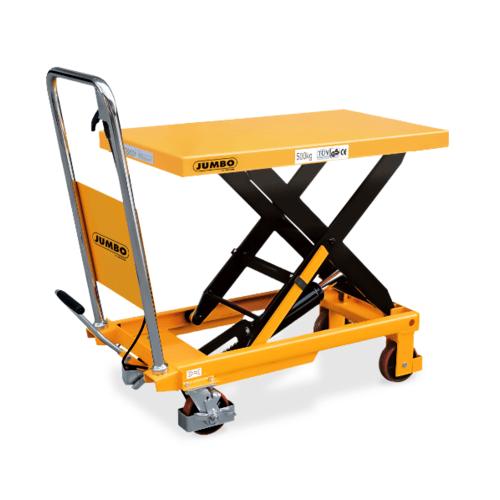 JUMBO โต๊ะปรับระดับติดล้อเท้าเหยียบ ขากรรไกรเดี่ยว 500 กก. TMS500A สีเหลือง