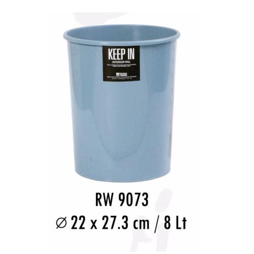 ตรามือ ถังขยะกลม 8 ลิตร  RW.9073ET สีฟ้า