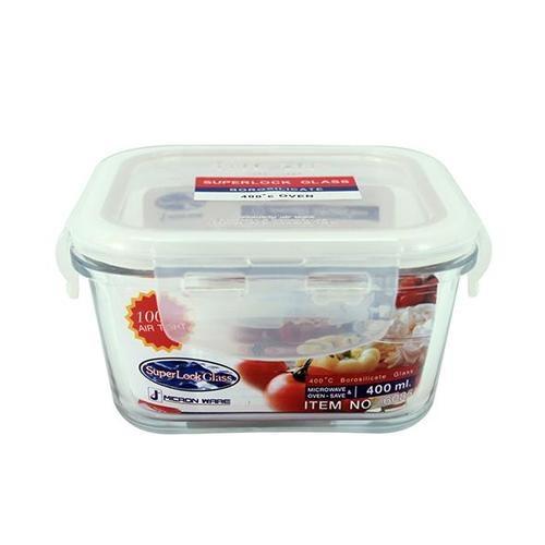 SUPER LOCK กล่องอาหารสี่เหลียม  ขนาดบรรจุ 400 ml.  6085 ขาว